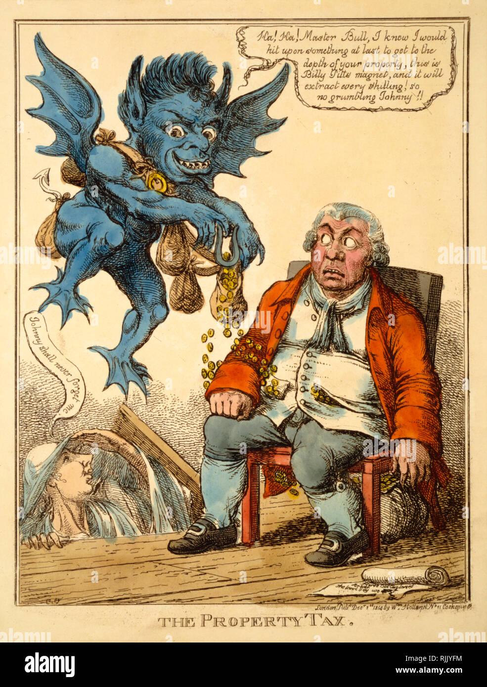 """Politico britannico Cartoon - C Williams 1814 - """"l'imposta immobiliare' - politica Immagini Stock"""