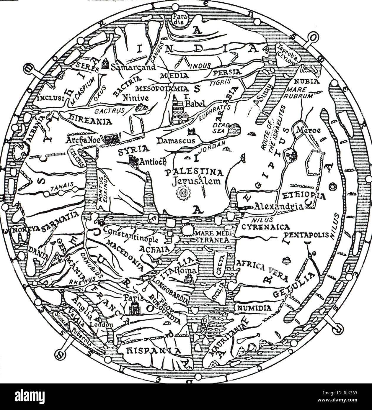 Alamy Una incisione raffigurante la sezione centrale della Mappa di Hereford. Fonte: Alamy Stock