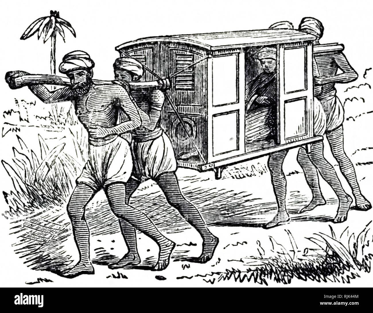 Una incisione raffigurante una figliata, una ruota inferiore veicolo che sarebbe portato da fanti. Datata del XIX secolo Immagini Stock