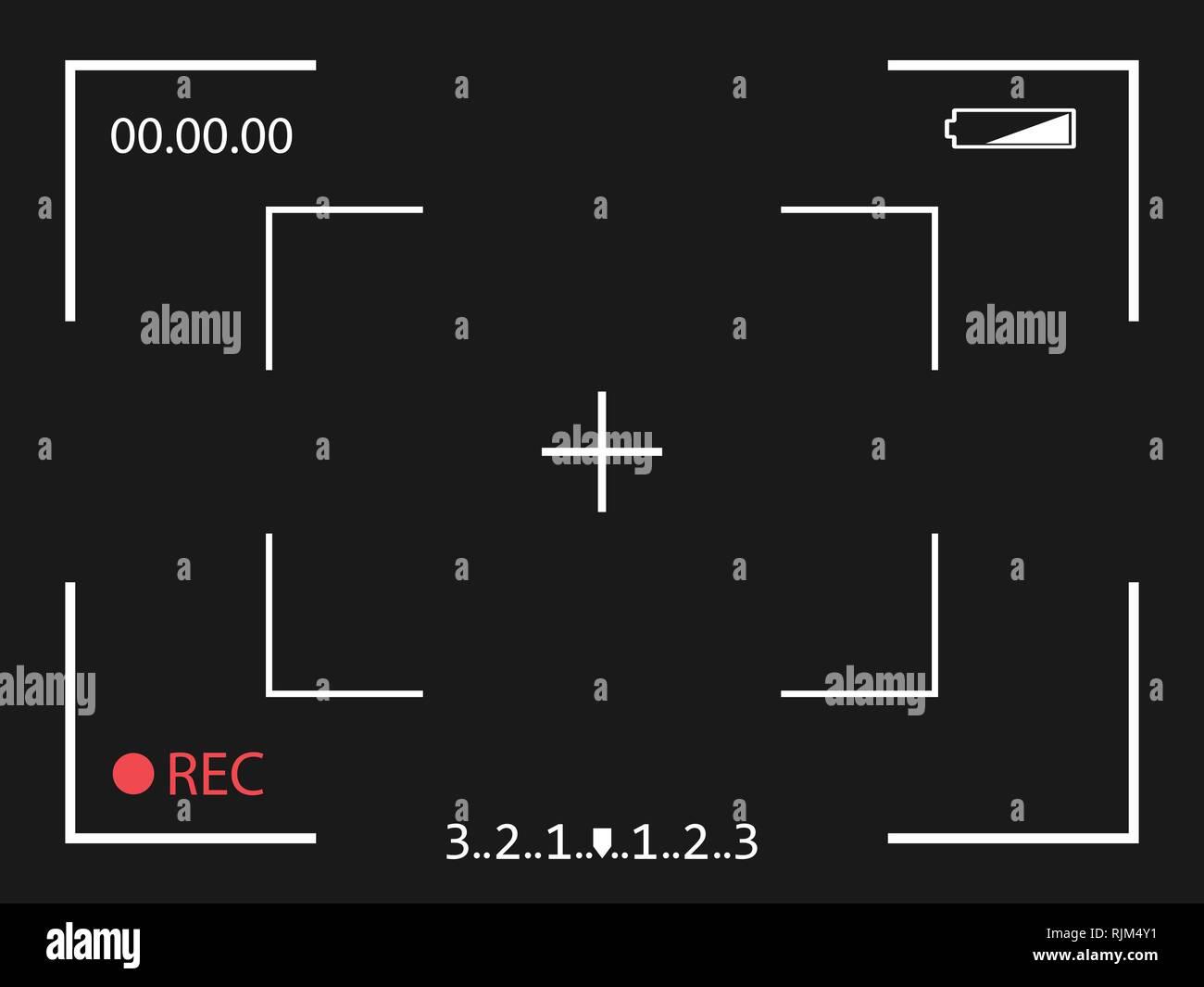 Telaio della fotocamera nella schermata del mirino su sfondo nero. Illustrazione Vettoriale. Immagini Stock
