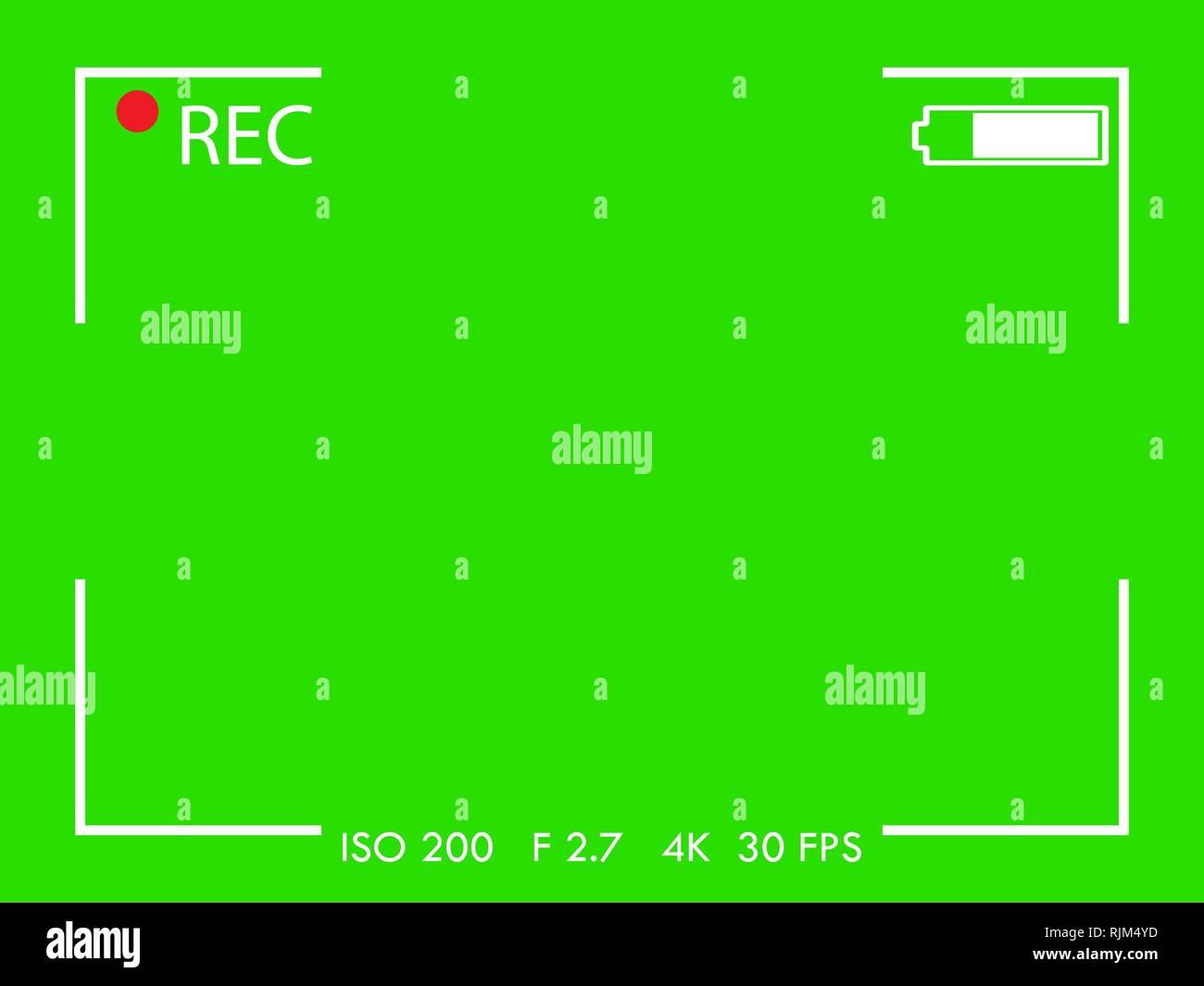Telaio della fotocamera nella schermata del mirino su sfondo verde. Illustrazione Vettoriale. Immagini Stock