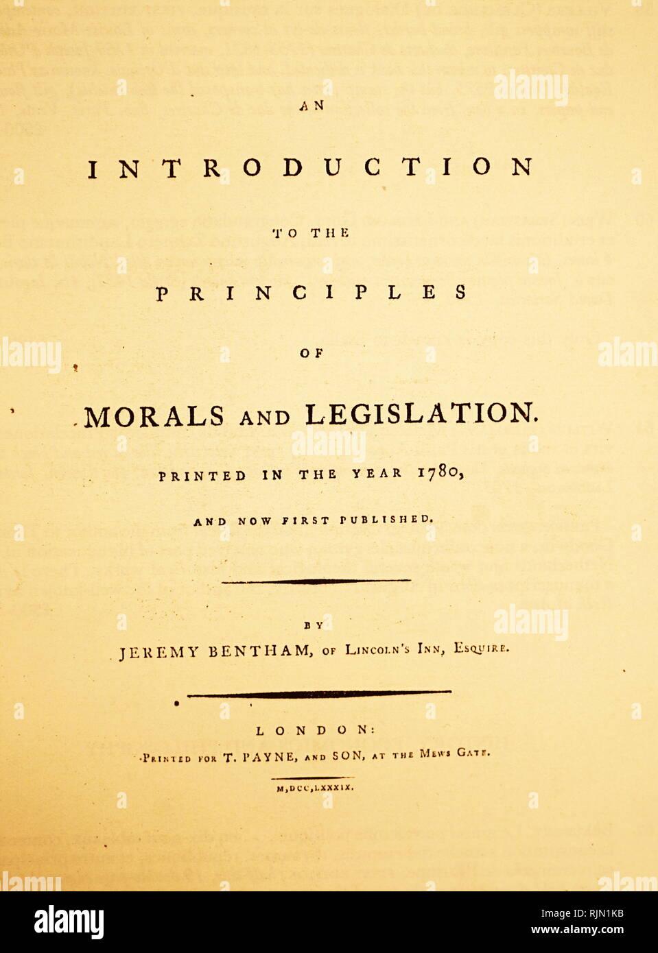 """Titolo pagina di Jeremy Bentham 'Una introduzione ai principi della morale e della legislazione"""", prima edizione, 1789 Immagini Stock"""