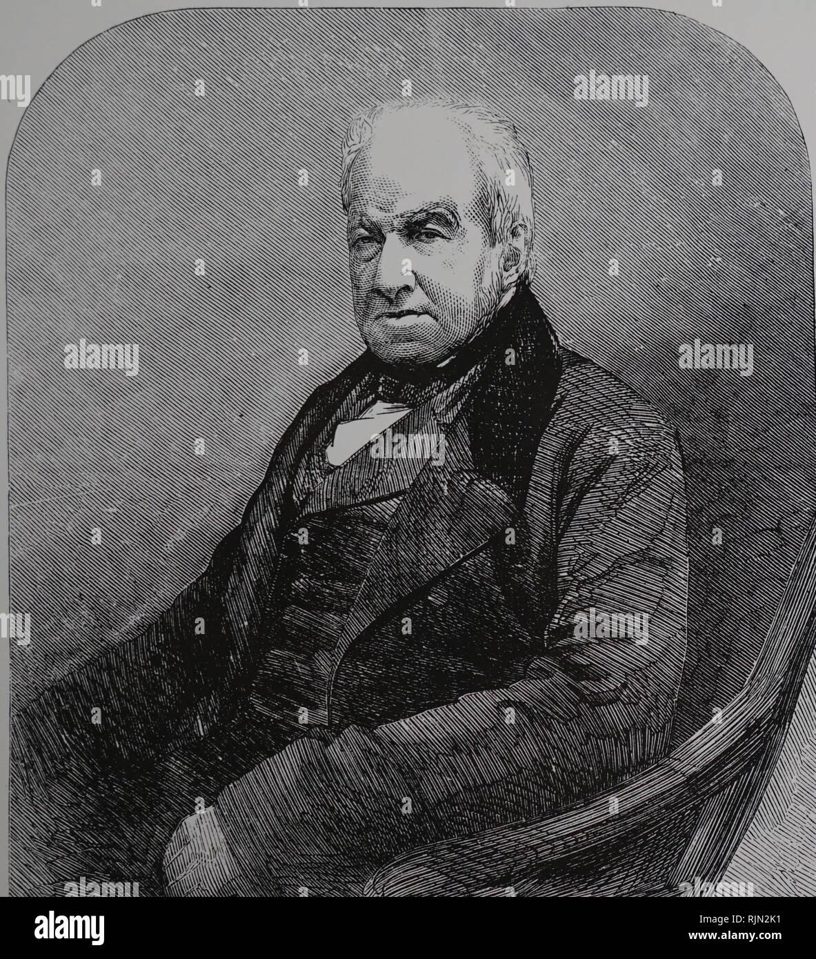 Illustrazione che mostra Robert Brown (1773 - 1858); Scottish botanico e palaeobotanist; che hanno reso importanti contributi alla botanica in gran parte attraverso il suo pionieristico di uso del microscopio. 1858 Immagini Stock