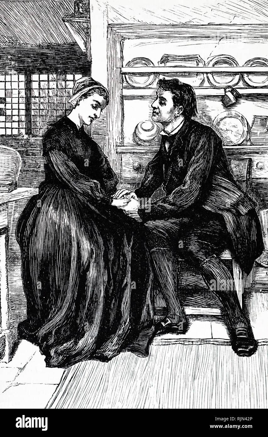 Dopo le prove e le tribolazioni della storia Adam Bede dichiara il suo amore a Dina Morris, il predicatore metodista. George Eliot Adam Bede, pubblicato per la prima volta 1859. Illustrazione di William piccole (1843-1929) da un edizione pubblicata circa 1885 Immagini Stock