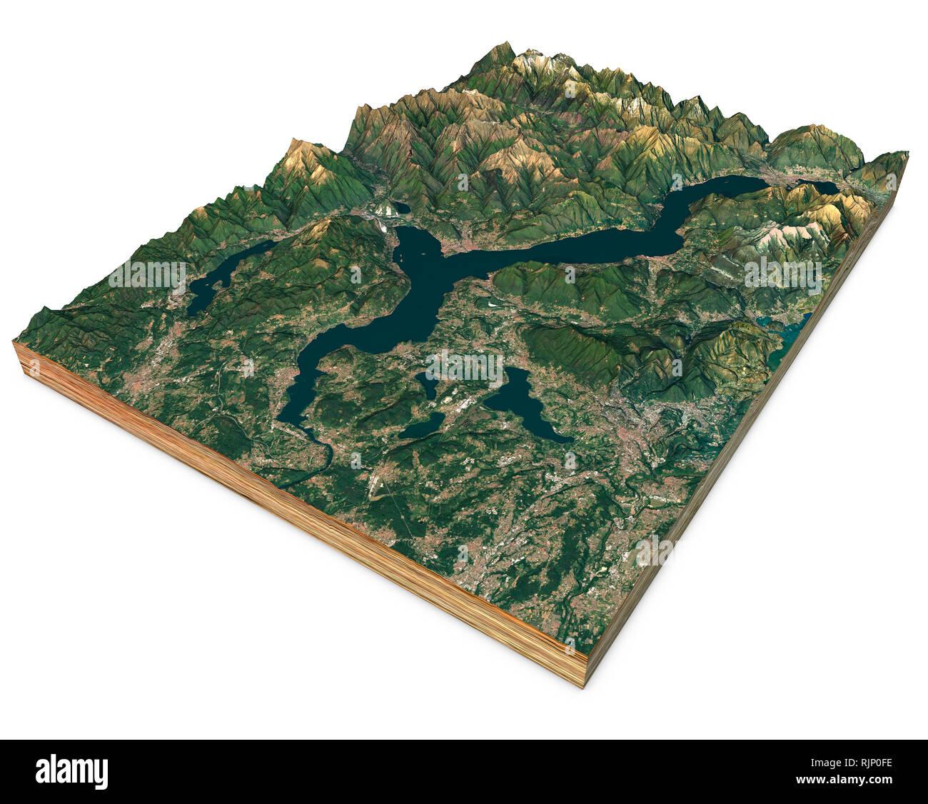 Cartina Geografica Del Lago Maggiore.Vista Satellitare Del Lago Maggiore Mappa Montagne E Rilievi 3d Sezione Il Rendering 3d Lombardia Piemonte L Italia Foto Stock Alamy