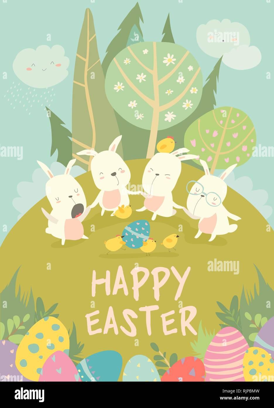 Graziosi conigli pasquali e uovo di pasqua vacanze felici