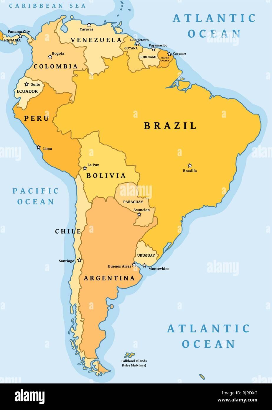 America Del Sud Cartina Politica.Sud America Divisione Politica Mappa Illustrazione