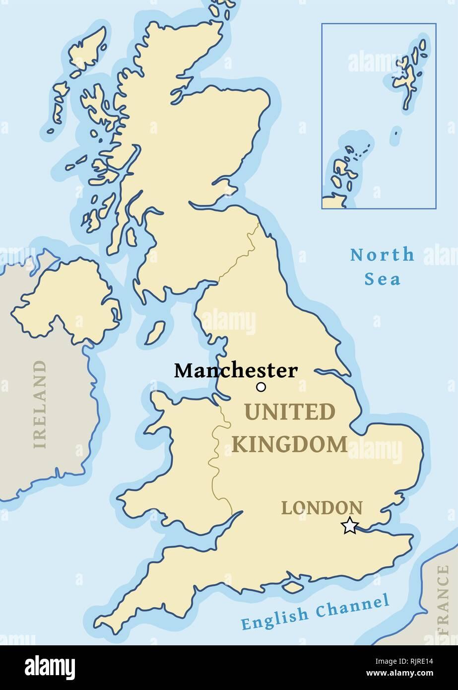 Manchester Cartina.Mappa Di Manchester Posizione Citta Segnata Nel Regno