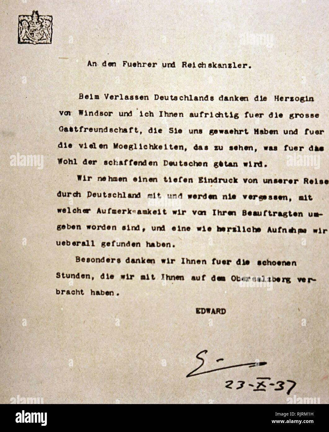 Lettera di apprezzamento da parte del Duca di Windsor, per l'ospitalità dimostrata da Adolf Hitler. Il Duca e la Duchessa di Windsor incontrare Hitler nel mese di ottobre del 1937. Il Duca di Windsor era stato re Edward VIII della Gran Bretagna fino alla sua abdicazione l'anno precedente Immagini Stock