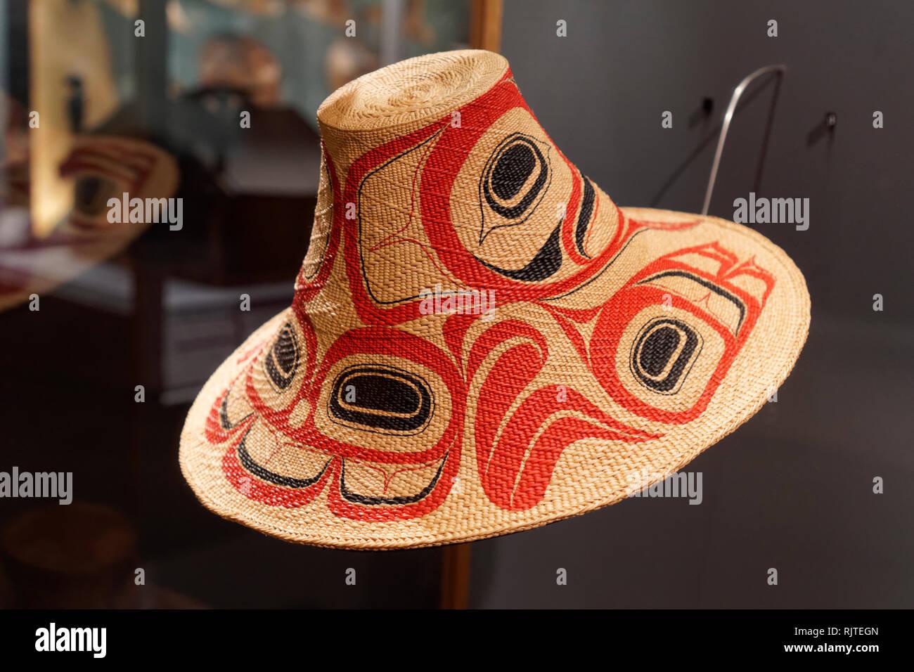 Haida tradizionali Prime Nazioni rosso e nero in tessuto di radice di abete  raven hat 6644ec5a61ac