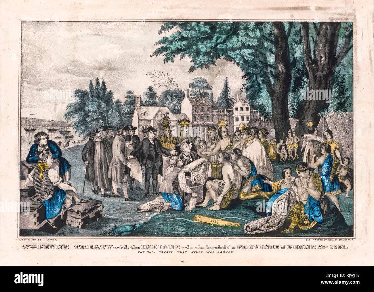 William Penn trattato con gli Indiani quando fondò la provincia di Pennsylvania nel 1661, stampa 1835-1856 Immagini Stock