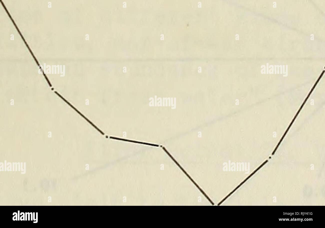 """. Atollo bollettino ricerche. Le barriere coralline e le isole; biologia marina; scienze marine. Temp. (°F) OS â 80- ] ] ] ] ] """" 75- ] """"' 70- ] ] """" i . ] ] ] ] . 65- 60 - âi 1 1 1 1 1 1 1 1 1 1 1 1 1 1 Gennaio Febbraio Marzo Aprile Maggio Giugno. Luglio Agosto Settembre Ott Nov. Dic, figura 18. La modalità del mezzo mensile per un periodo di dieci anni, 1953- I963, e la gamma di massimi e minimi di modi di temperatura per atollo di Midway. La figura 19. Media precipitazioni mensili in pollici (istogrammi) e il numero medio di giorni con precipitazione misurabile (linea grafico) per Midway Atoll, 1953-63- 20 t 15-- 10 -- 5 --n. Foto Stock"""