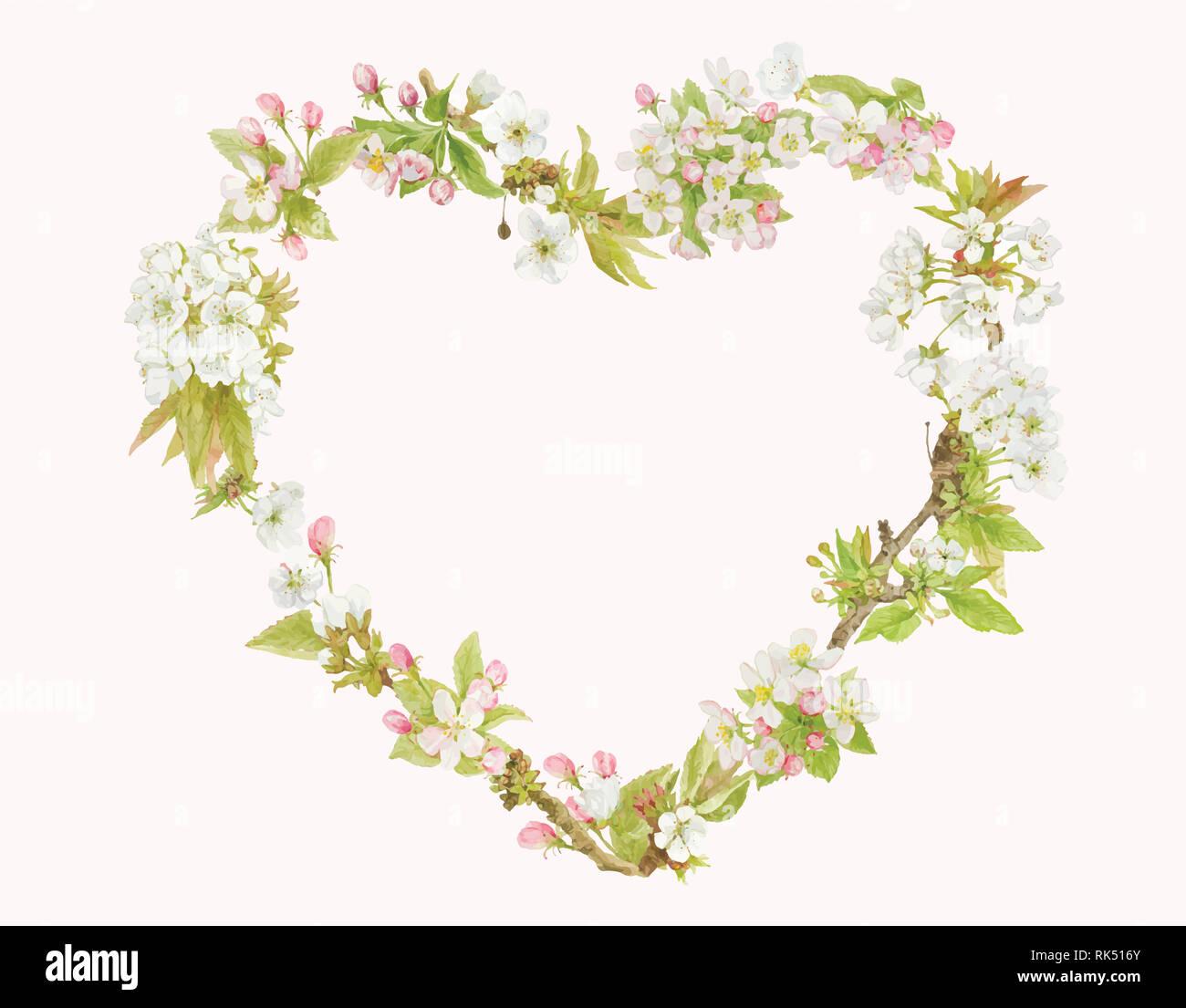 Il cuore isolato di fiore a forma di nozze di confine greeting card modello Foto Stock