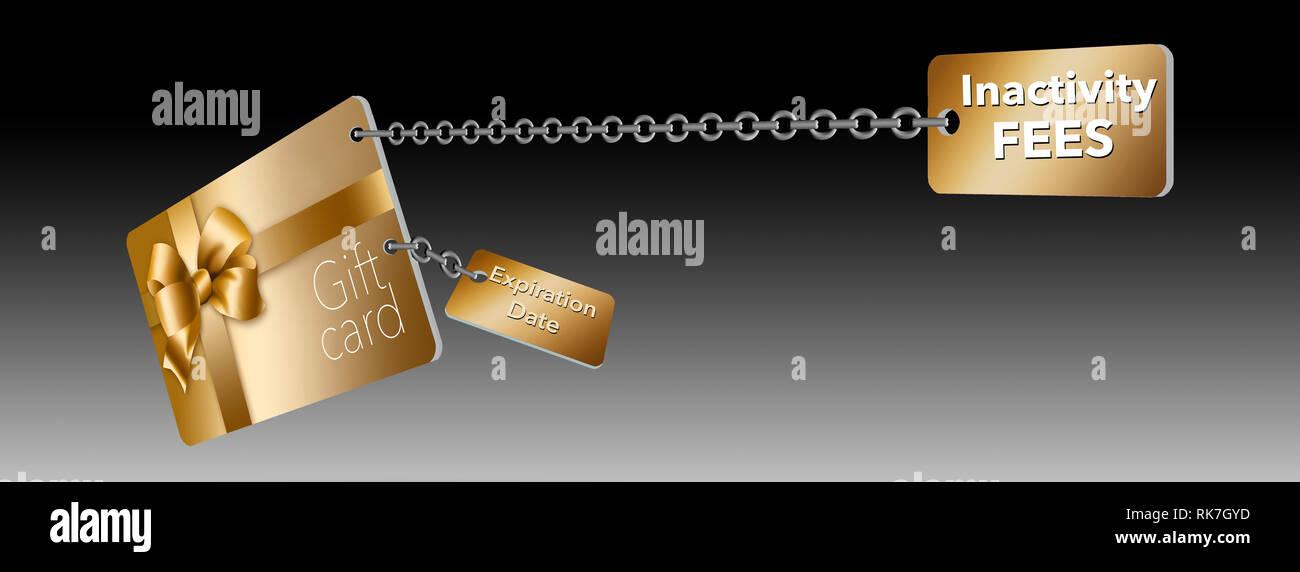 Un oro Carta regalo retail è visto con i cartellini attaccati con catene. Il tag rappresentano problemi con carte regalo...le date di scadenza e la tassa di inattività con Foto Stock