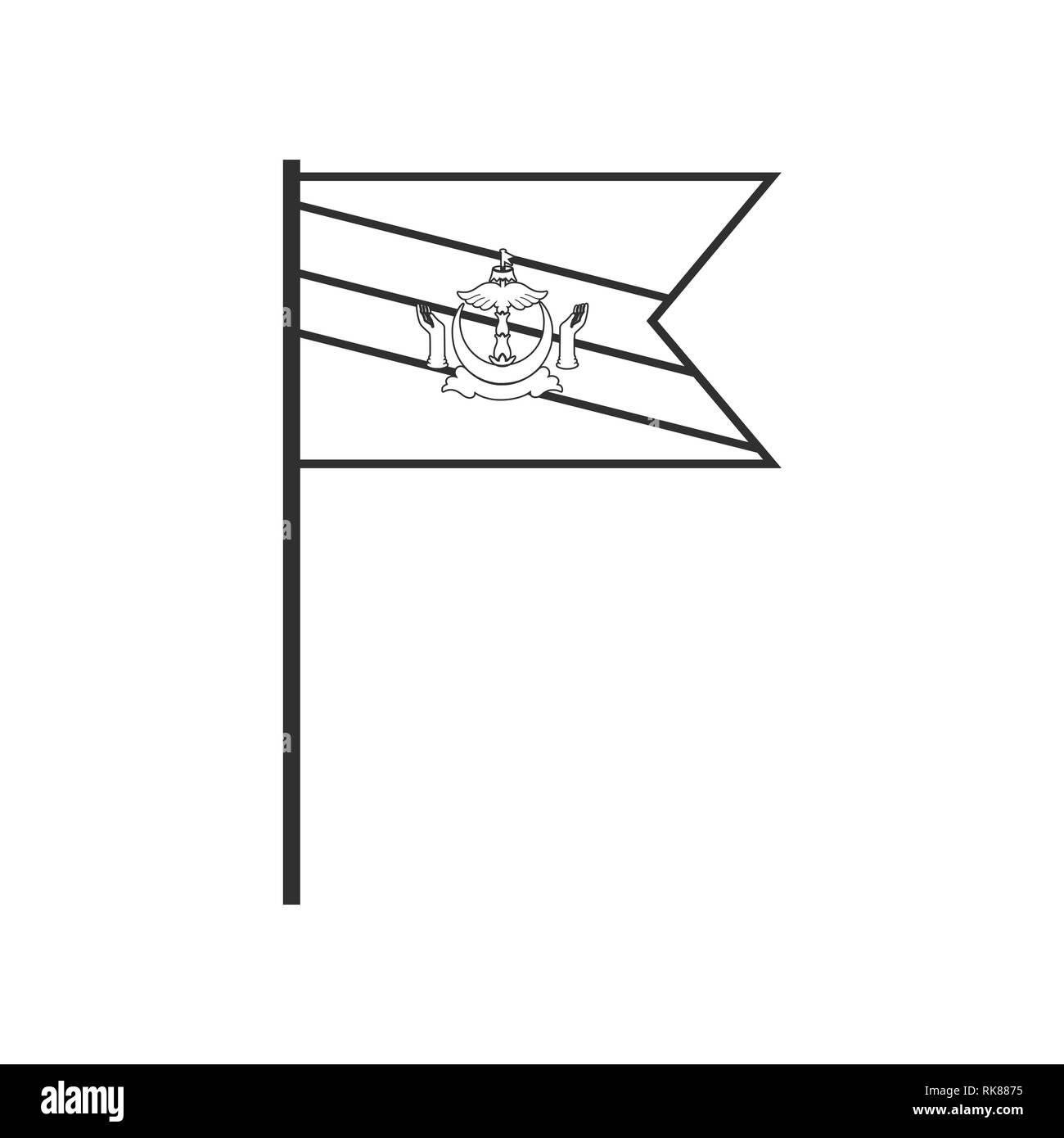 Brunei icona bandiera in sagoma nera design piatto. Giorno di indipendenza o giornata nazionale il concetto di vacanza. Immagini Stock