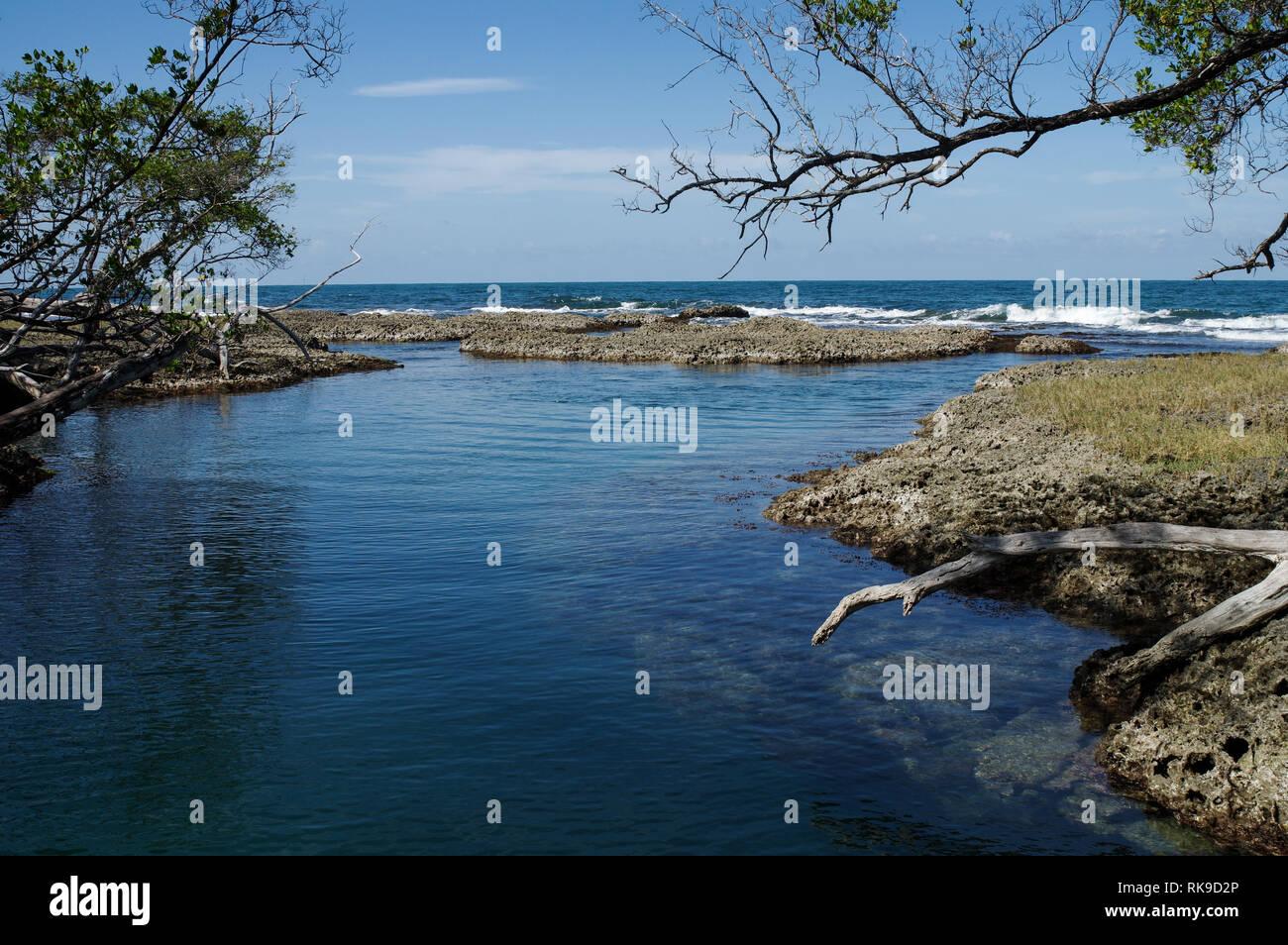 Laguna Blu su Isla Colon - Bocas Del Toro arcipelago, Panama Immagini Stock
