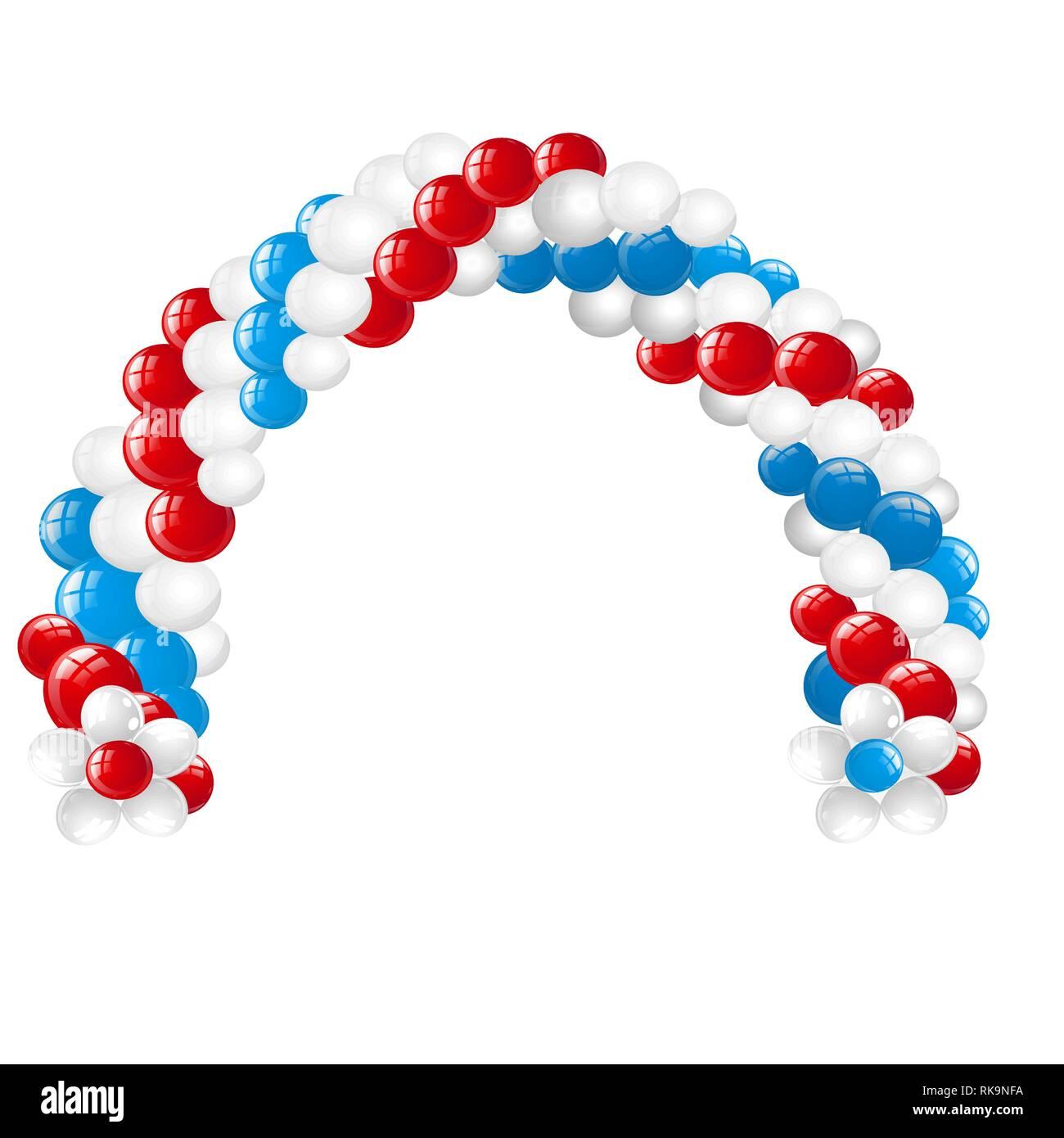 Arco In Bianco Rosso Blu Palloncini Isolati Su Sfondo Bianco