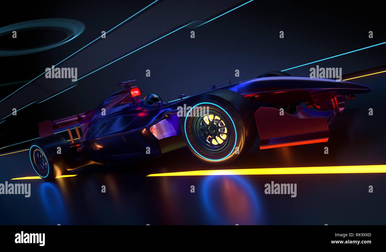 Race Car accelerando lungo un tunnel futuristico. Vettura da gara con nessun nome di marca è progettato e modellato da me. 3D illustrazione Immagini Stock
