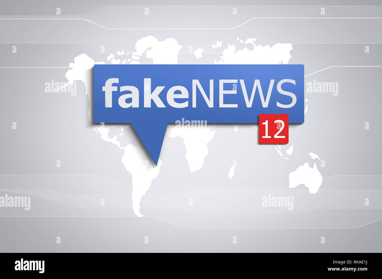 Fake news sui social media Immagini Stock