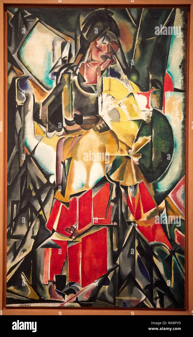 Donna con un ventilatore, 1916 María Blanchard, Museo Nacional Centro de Arte Reina Sofia, Madrid, Spagna, Europa Immagini Stock