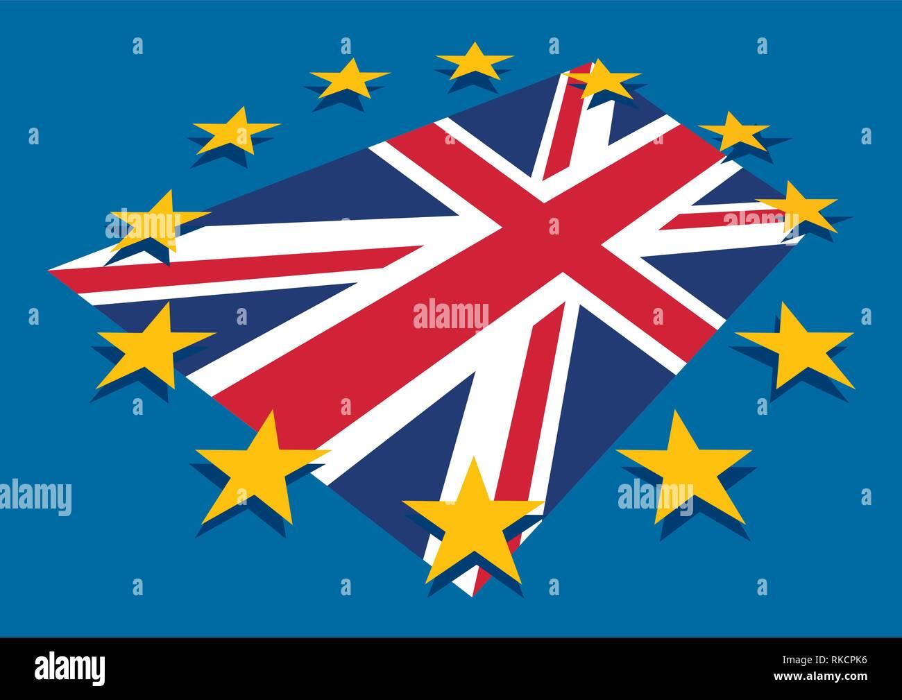 Blu Brexit Unione Europea Bandiera Ue Con Stelle E Gran Bretagna