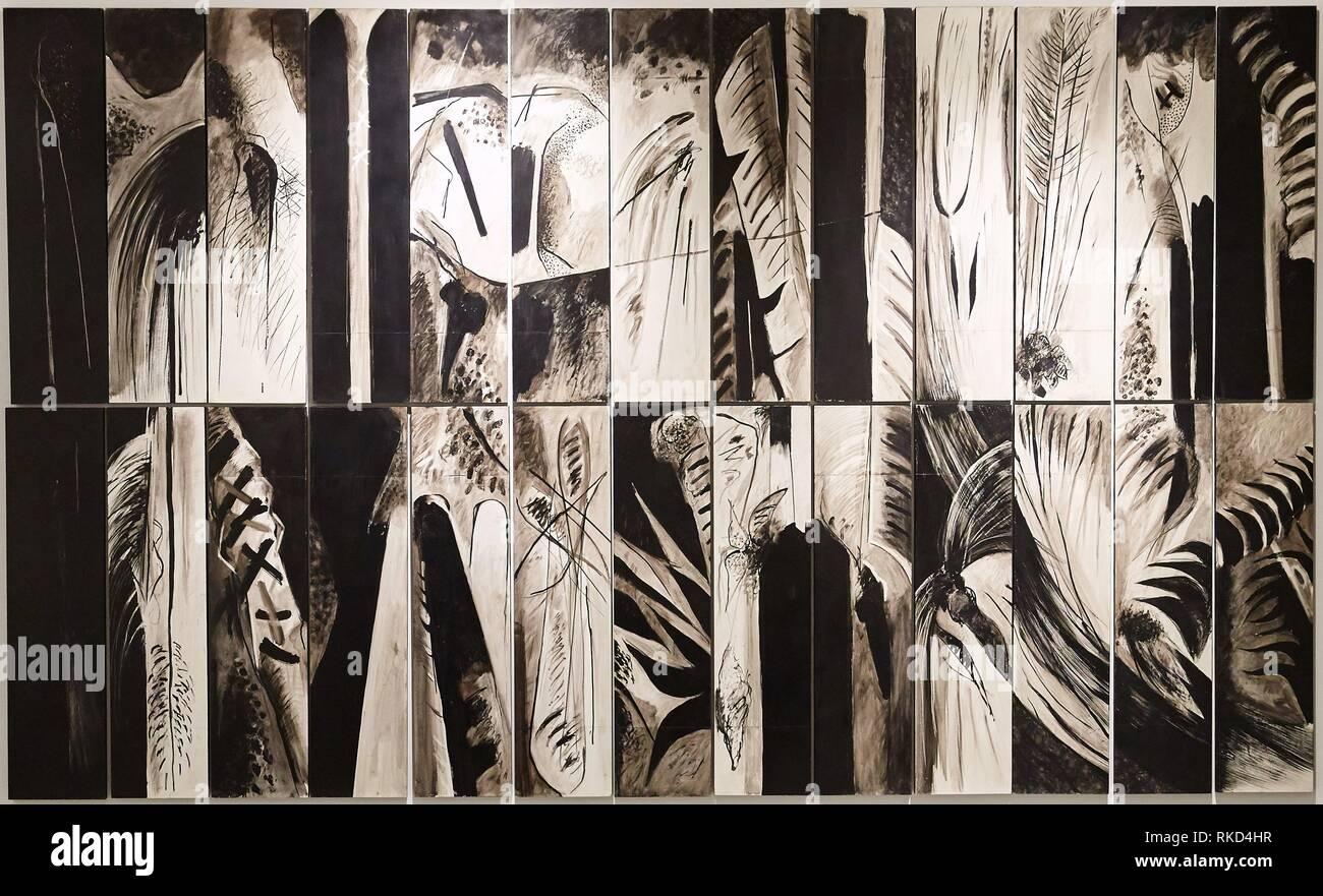 '''Silenzio testimoni, frammentato il paesaggio urbano'', Jean-Gabriel Thénot, Museo de Antioquia, Medellin, Antioquia, Colombia Immagini Stock