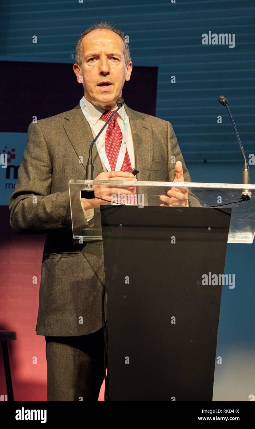 """Roberto García'a, CEO Dinycon, Feria andare fiera di mobilità, basco di mobilità sostenibile e di energia per il settore dello storage""""s, Ficoba, Irun, Gipuzkoa, basco Immagini Stock"""