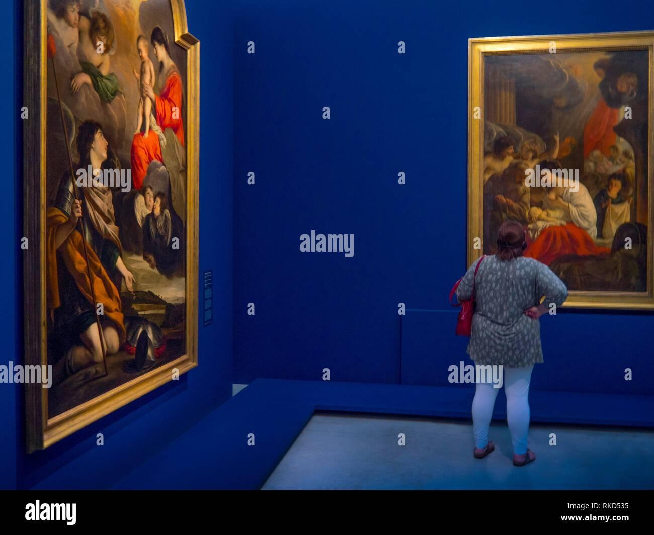 Francia, Hauts de France - Pas de Calais- Fratelli Le Nain presentano a Louvre-Lens.Il Louvre-Lens è un'arte museo situato nella lente, Pas-de-Calais, Immagini Stock