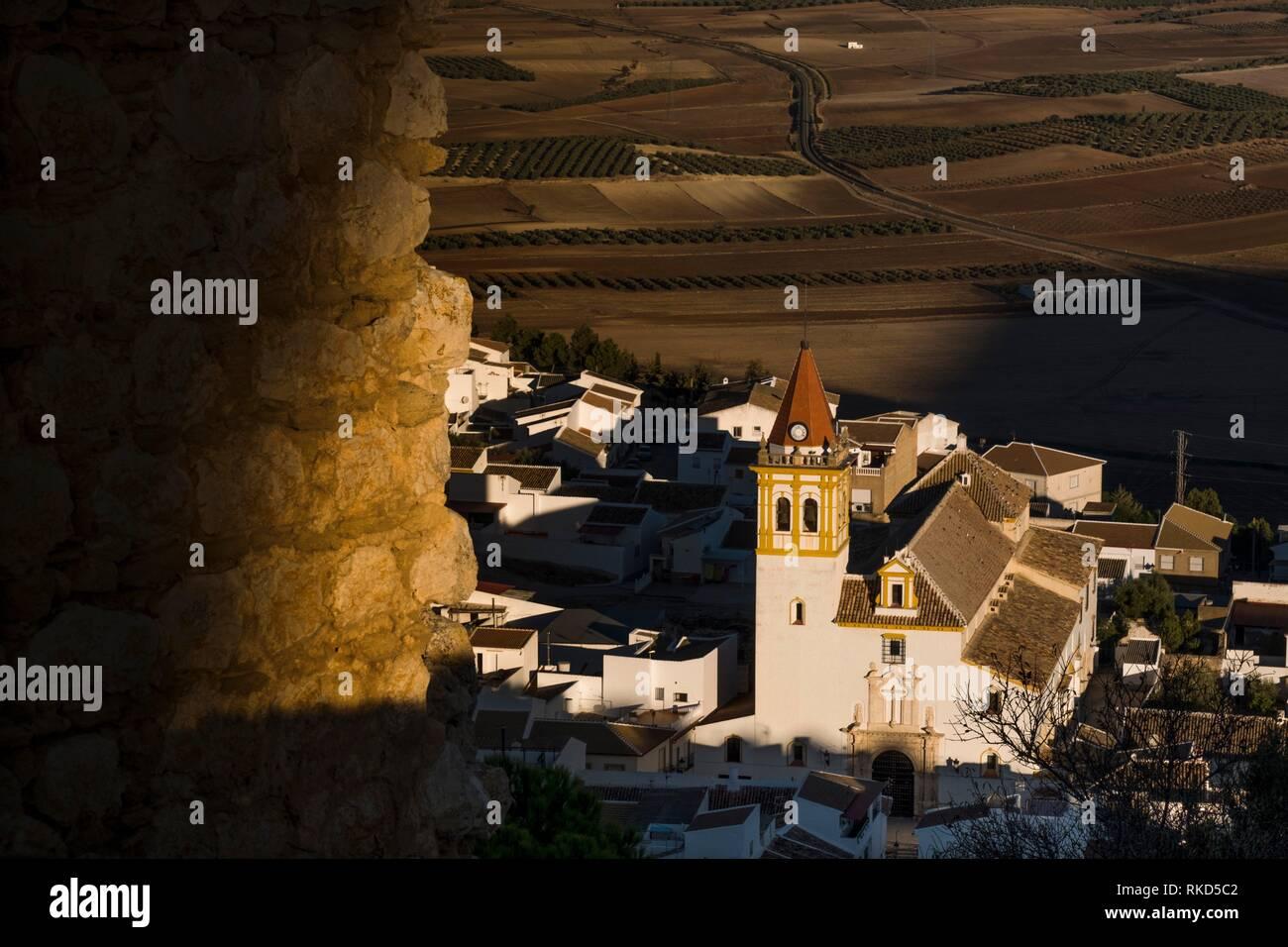 Spagna, Andalusia, provincia di Malaga, Teba dal castello moresco di La Estrella. Immagini Stock