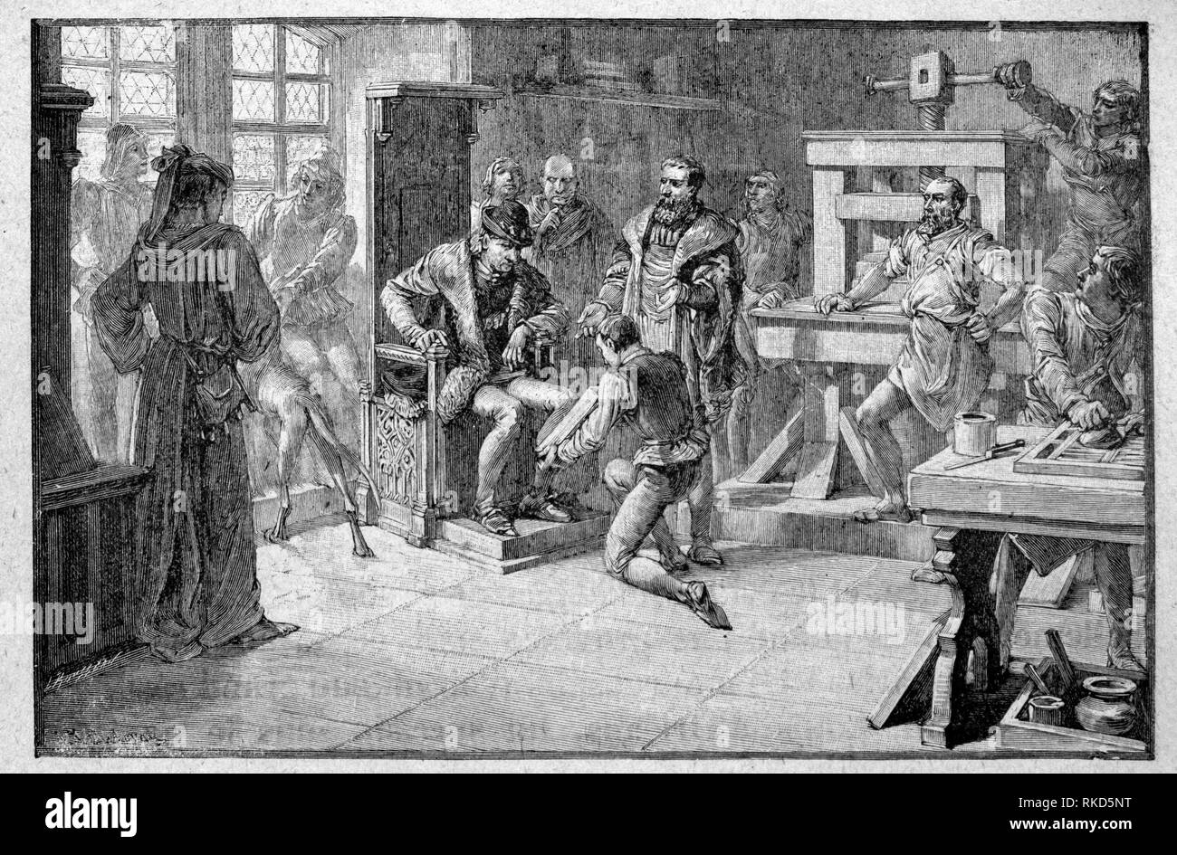 """La Francia. Primo libro stampato presentata al re Luigi XI, in ''Msu Histoire de France """" da Medemoiselles H-S Brés. Hachette Pub. 1926). Immagini Stock"""