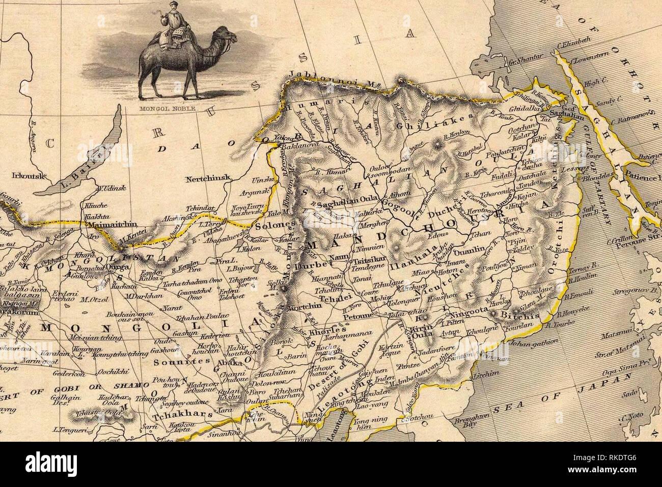 La sezione NE (Manciuria e Mongolia) della mappa del nord e la parte occidentale dell'Impero Cinese - Thibet, Mongolia, e Mandchouria. I confini sono mostra come per il 1858 trattato di Aigun. Immagini Stock