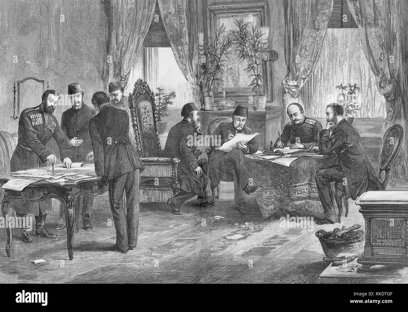La firma del Trattato di San Stefano. Un trattato tra la Russia e l'impero ottomano firmato alla fine della guerra Russo-Turkish, 1877-78. È stato firmato il 3 marzo 1878 Immagini Stock