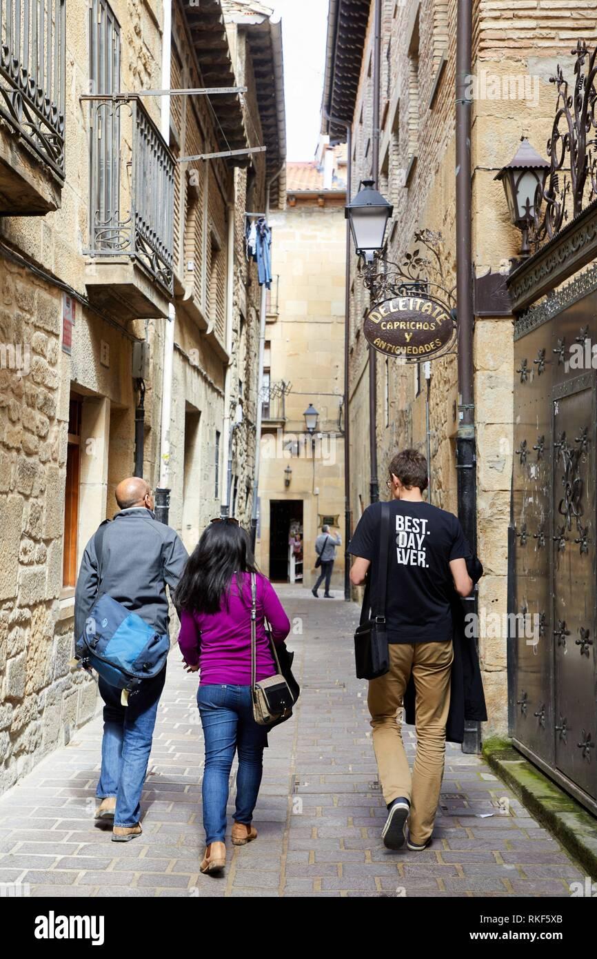 Guida con i turisti, Laguardia, Rioja Alavesa, Araba, Paesi Baschi, Spagna, Europa Immagini Stock