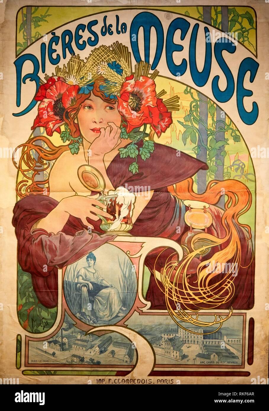 '''Bières de la Meuse'' 1897, Alphonse-Marie Mucha, Museo Nazionale di Arte Catalana, Museu Nacional d'Art de Catalunya MNAC, Barcellona, Spagna, Europa Immagini Stock