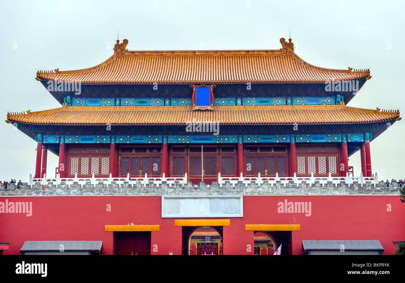 Cancello posteriore purezza celeste Gugong Città Proibita Moat Canal parete Plaace Beijing in Cina. Il Palazzo Imperiale, costruito nel Seicento nella dinastia Ming.. Immagini Stock