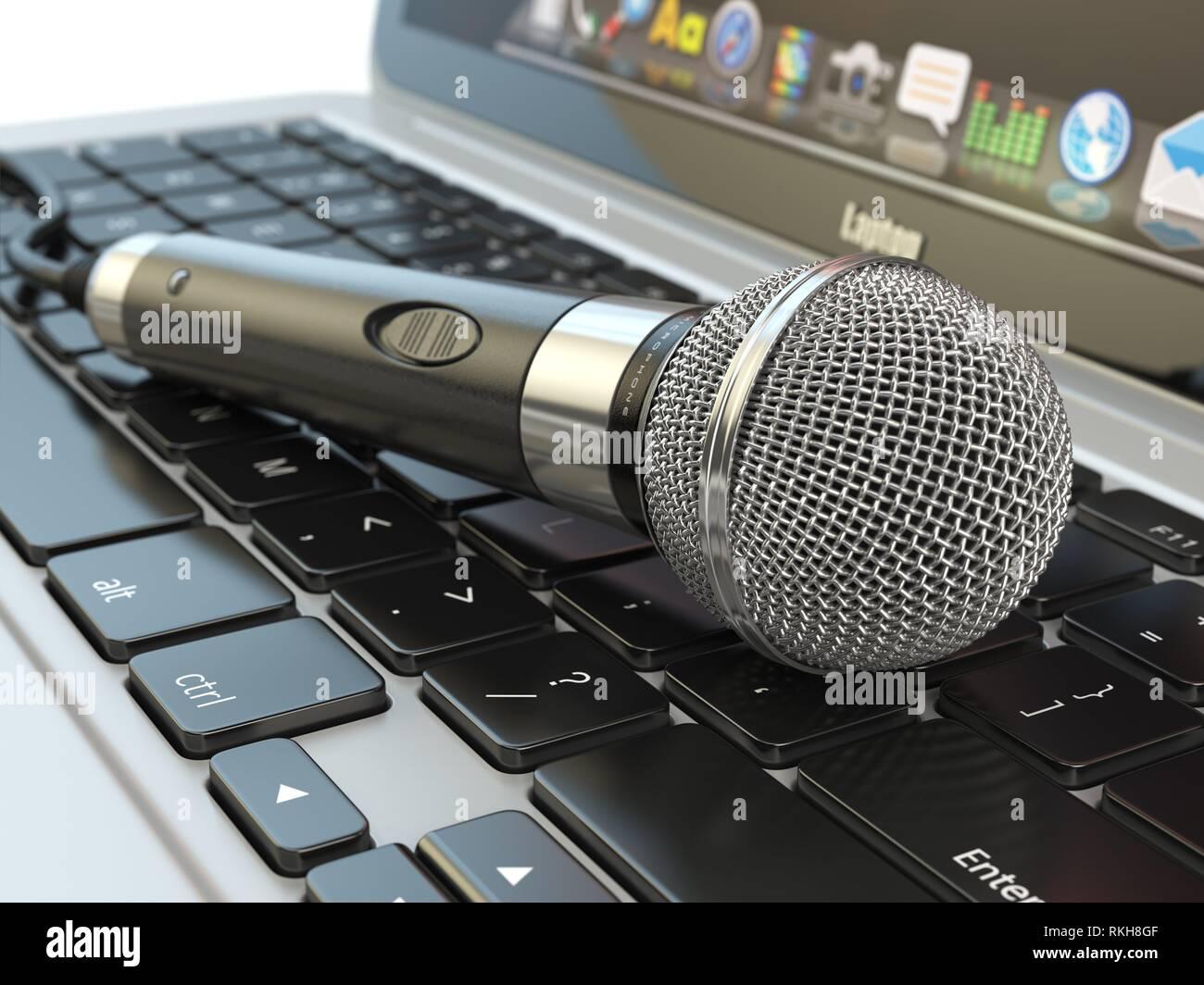 Microfono sulla tastiera del notebook. Digital audio musica software o il concetto di karaoke. 3d'illustrazione. Immagini Stock