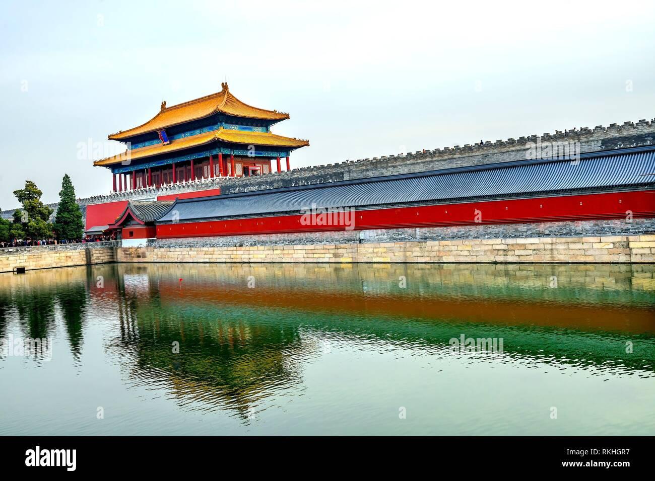 Cancello posteriore purezza celeste Gugong Città Proibita Moat Canal parete Plaace Beijing in Cina. Il Palazzo Imperiale, costruito nel Seicento nella dinastia Ming. Immagini Stock