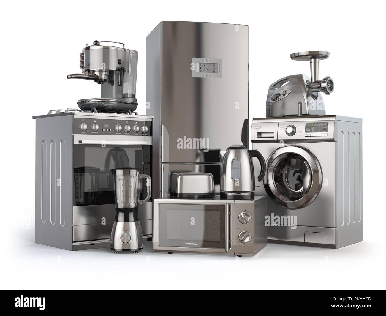 Home appliances. Fornello a gas, frigorifero, forno a