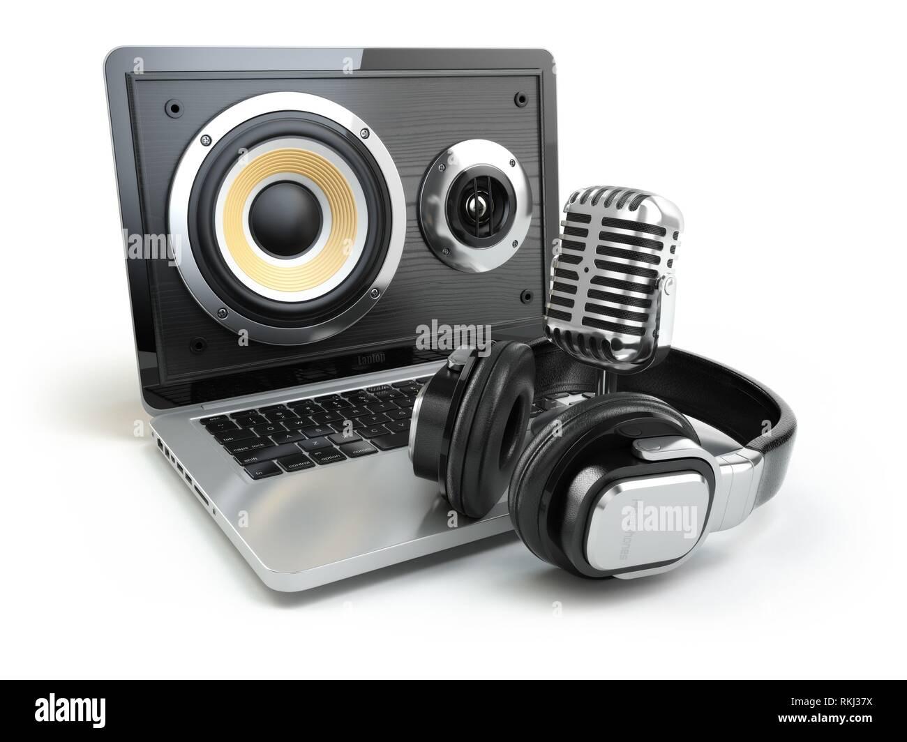 Digital audio o musica software concetto. Laptop microfono ed altoparlanti. 3d. Immagini Stock