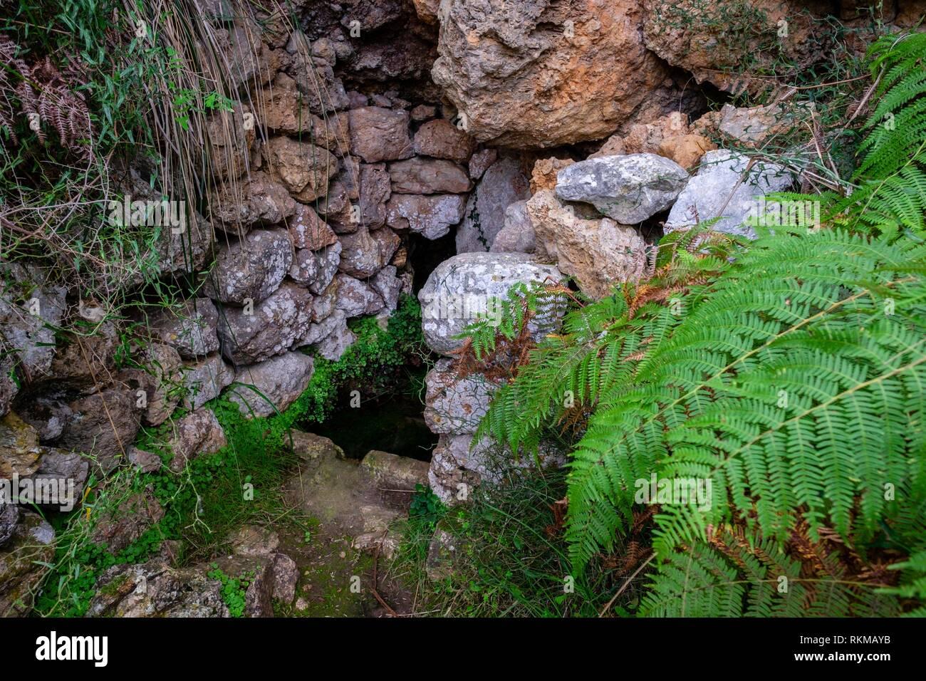 Font Subauma, Escorca, Paraje natural de la Serra de Tramuntana, Maiorca, isole Baleari, Spagna. Immagini Stock