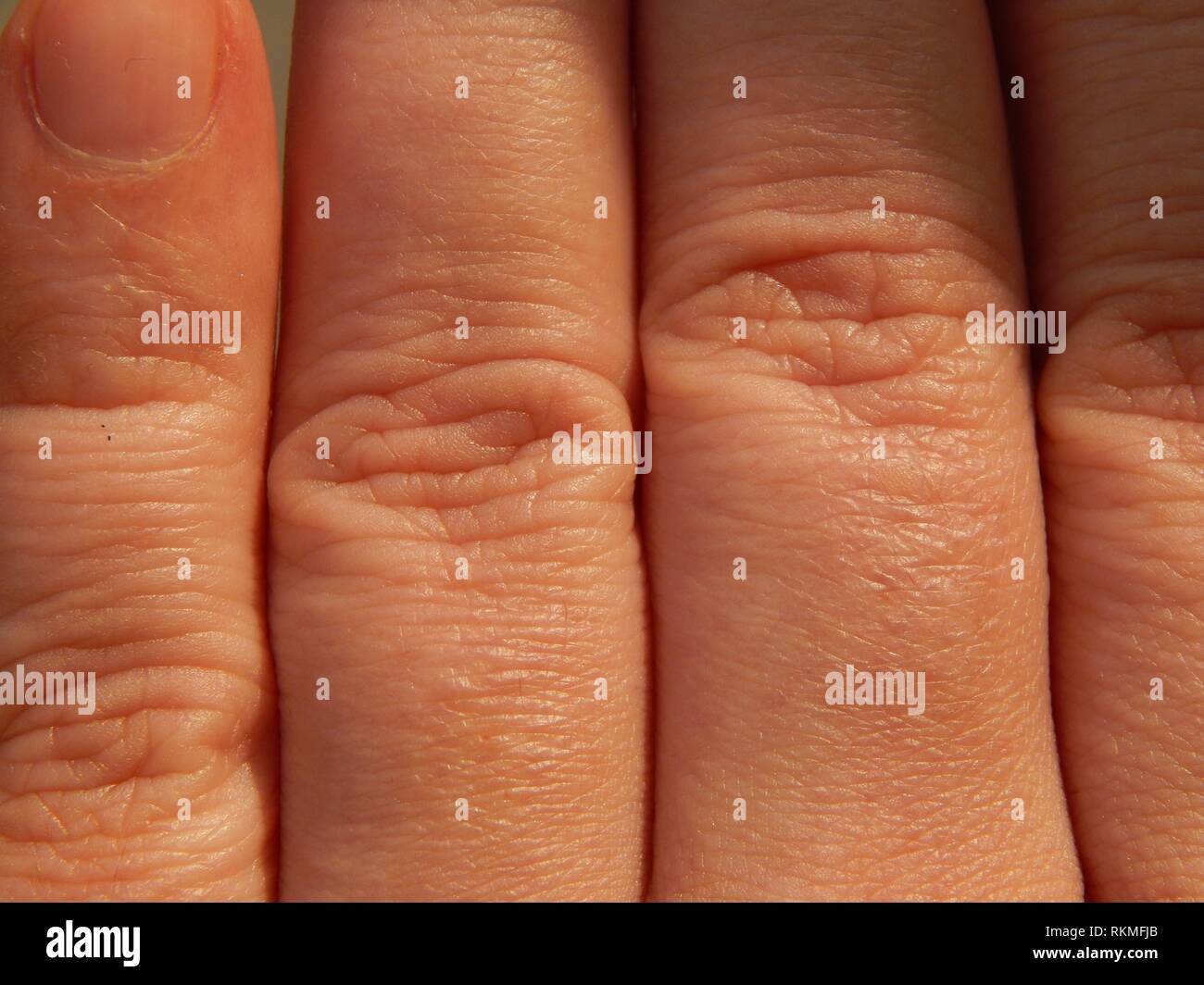 La pelle umana texture in varie parti del corpo. Immagini Stock