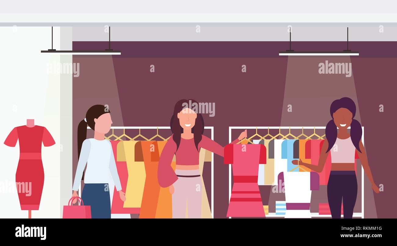 Mix corsa i clienti in possesso di sposa boutique di moda grande