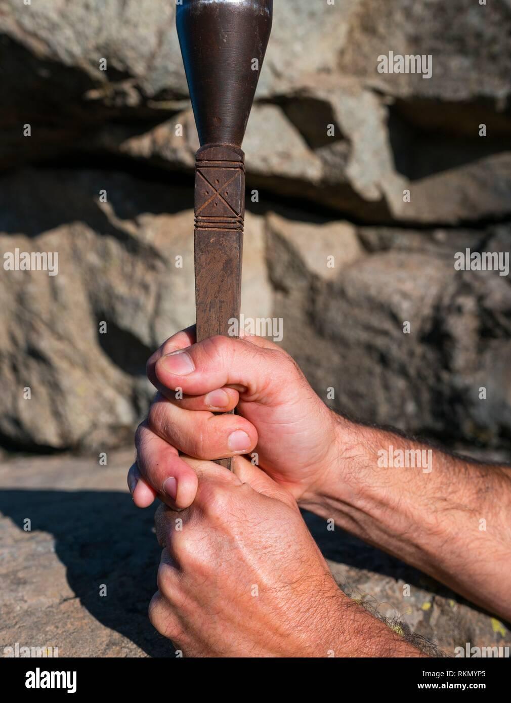 Il pastore delle Canarie's Leap, Salto del pastore canario, Tirajana orrido, Gran Canaria Island, Isole Canarie, Spagna, Europa. Immagini Stock