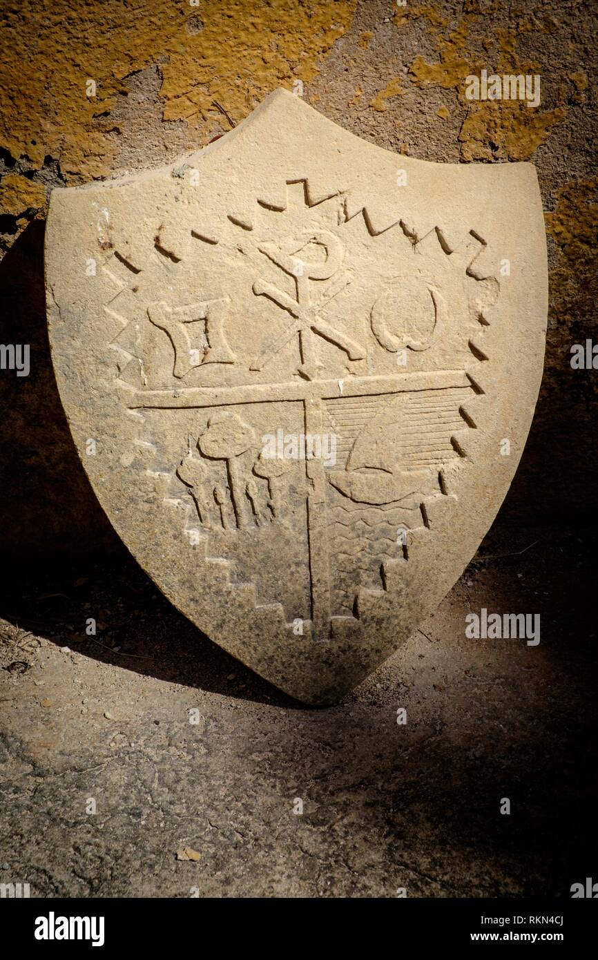 L'escudo familiarità, Museo Etnológico de Muro (sección del Museo de Mallorca) può Alomar. , Muro, Pla de Mallorca, centro-norte de la Isla, Mallorca, Immagini Stock