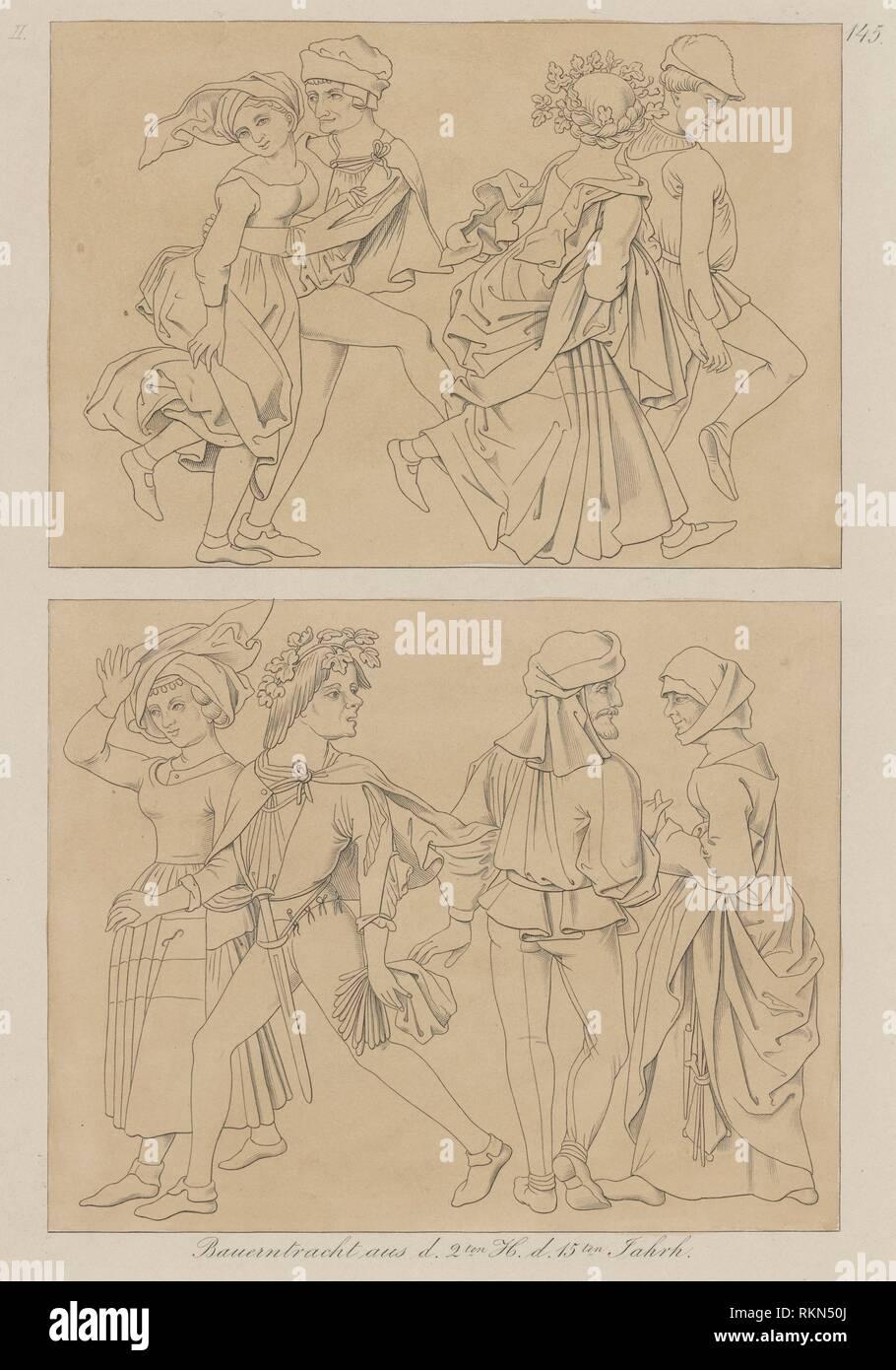 Bauerntracht aus d. 2dieci H. d. 15dieci Jahrh. Stampe raffiguranti soggetti di danza. Data di pubblicazione: 1800 - 1899 (discutibile). Abbigliamento e abiti - Europa - Immagini Stock