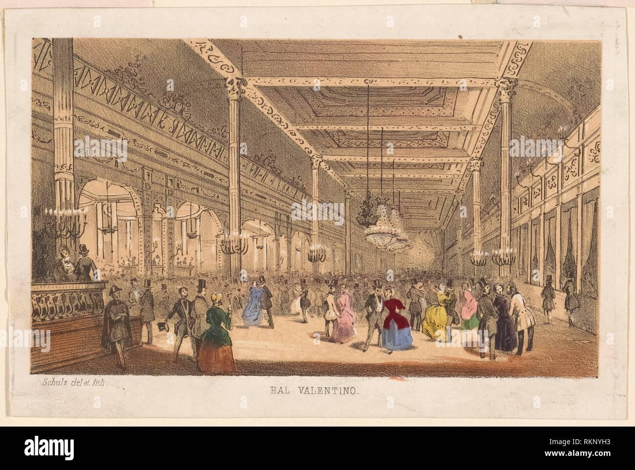 Bal Valentino. Schulz, XIX sec.. (Litografo) Schulz, XIX sec.. (Artista). Stampe raffiguranti soggetti di danza. Data di pubblicazione: 1800 - 1899 Immagini Stock