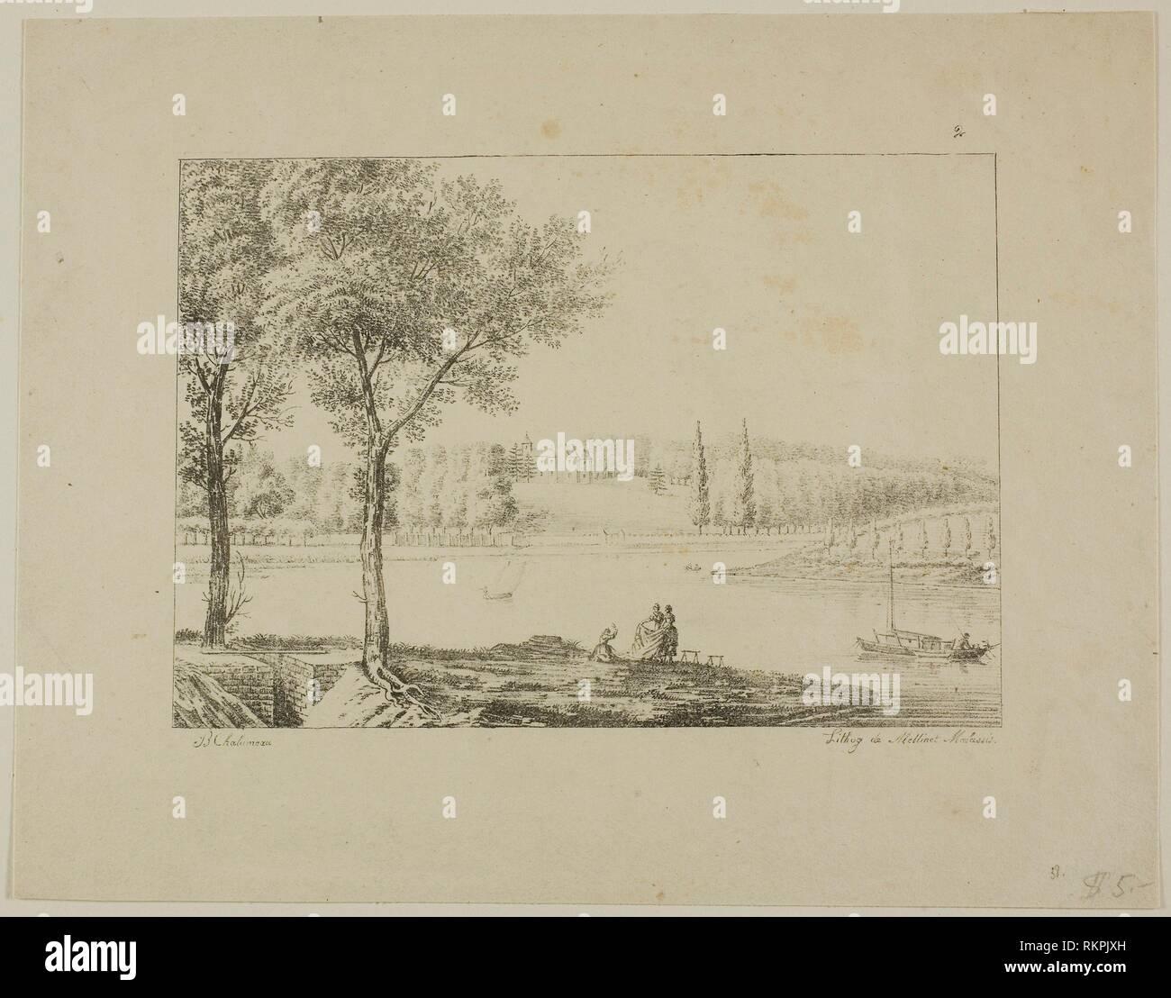 Paesaggio - 1820-1830 - B. Chalameau (Francese) stampate da Mellinet-Malassis (Francese, 1800-1899) - Artista: B. Chalameau, PROVENIENZA: FRANCIA, Data: Immagini Stock