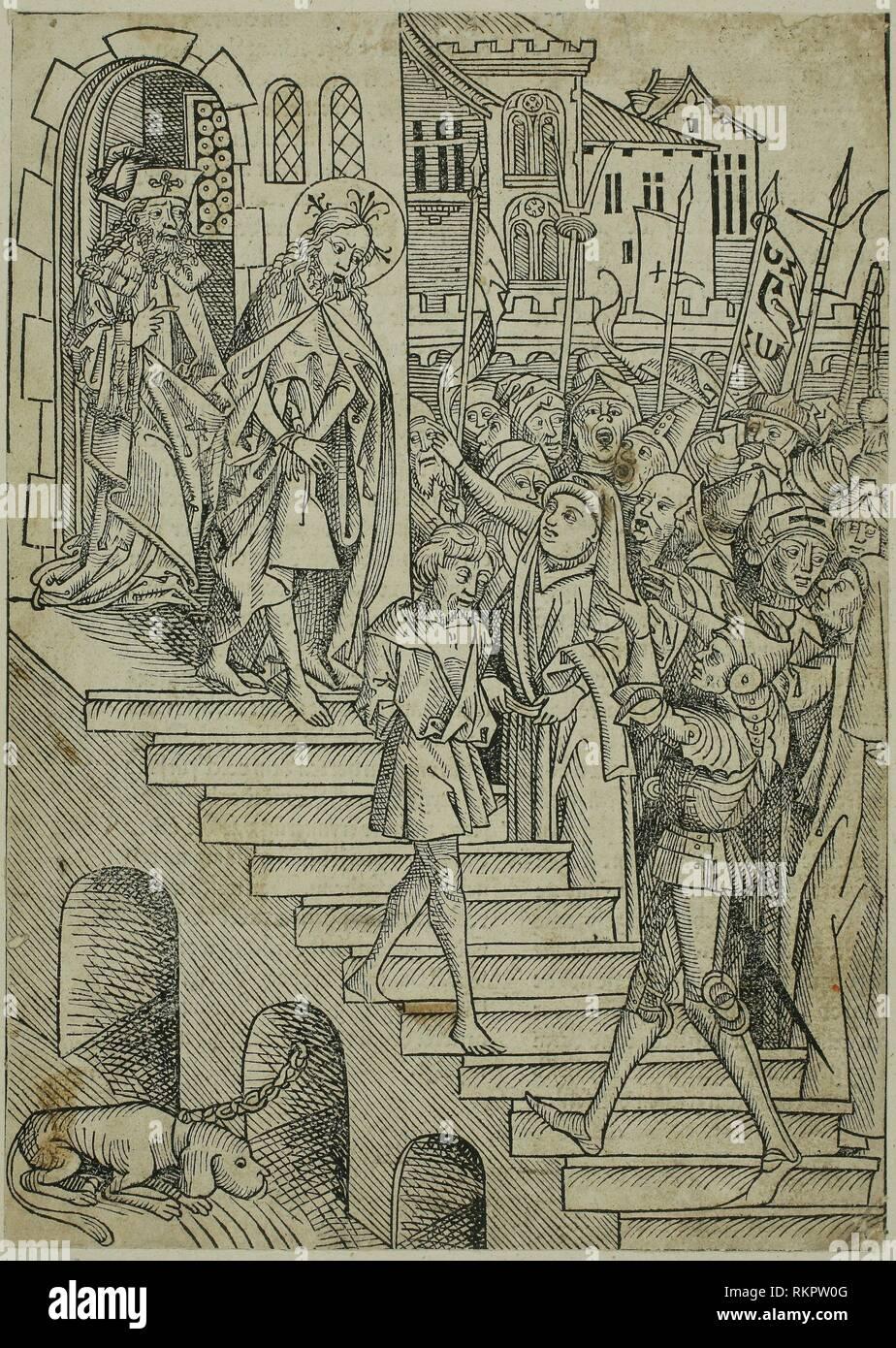 Cristo ha presentato al popolo, pagina 73 dal Tesoro (Schatzbehalter) - 1491 - Michael Wolgemut e Workshop (tedesco, 1434/37-1519) pubblicato da Immagini Stock