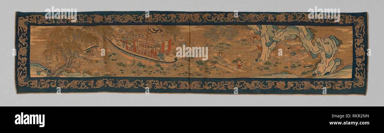 Paracolpi - dinastia Qing (1644-1911), 1875/1900 - Cina - Origine: Cina, data: 1875-1900, dimensioni: 32 × 136,2 cm (12 5/8 × 53 5/8 in.) Immagini Stock