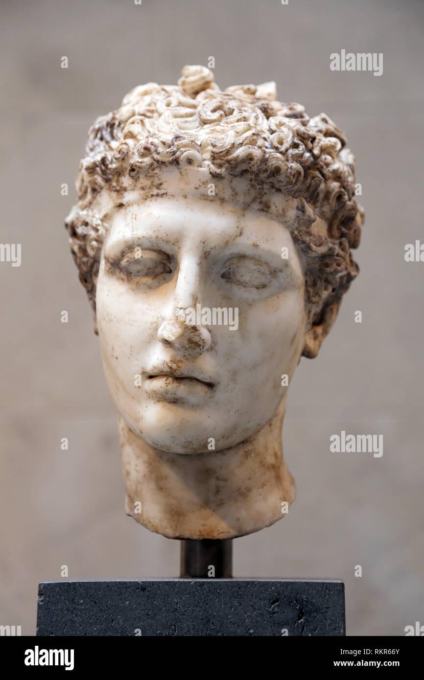 Testa di marmo di un atleta. Età imperiale romana. ca. 138-92 annuncio. Copia di una statua greca, 5 A.C. Il Met. New York. Immagini Stock